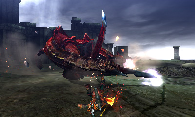 A spinning Crimson Tigrex. The clouds containing sparks will inflict blastblight.