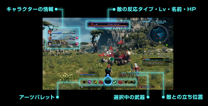 Xenoblade Chronicles X - Battle Screen